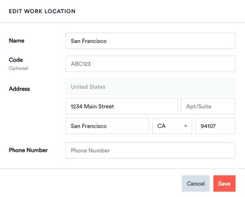 Work Location Codes
