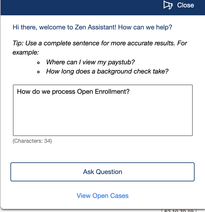 Submitting Questions in Zen Assistant